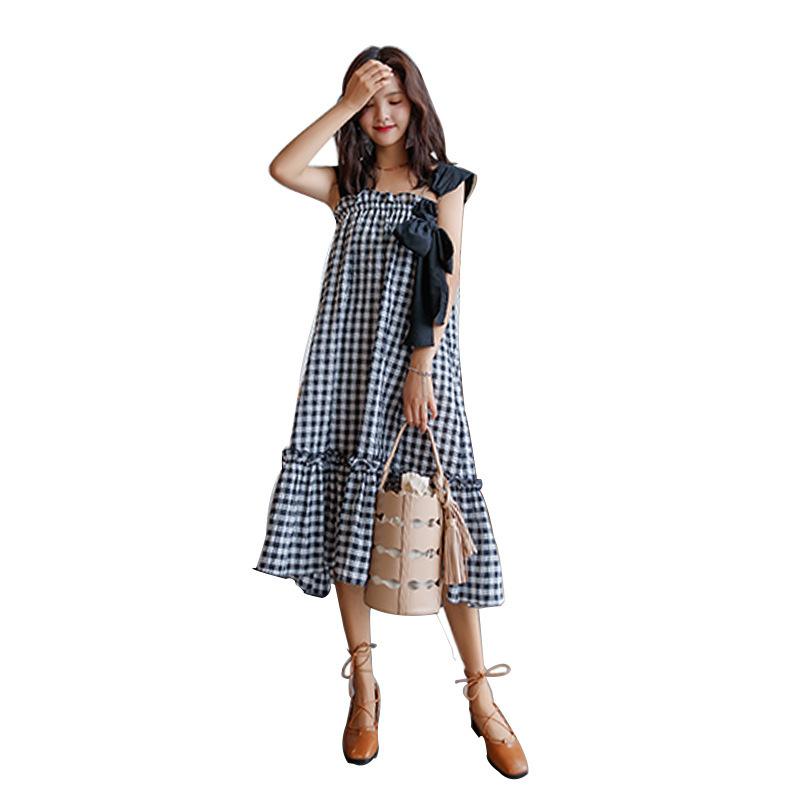 【RE】2017夏服新型韓国スイート小さい女子学生格子キャミワンピース女ゆったりハイウエストのワンピース キャミワンピース チェック柄 韓国ファッション かわいい-SS518
