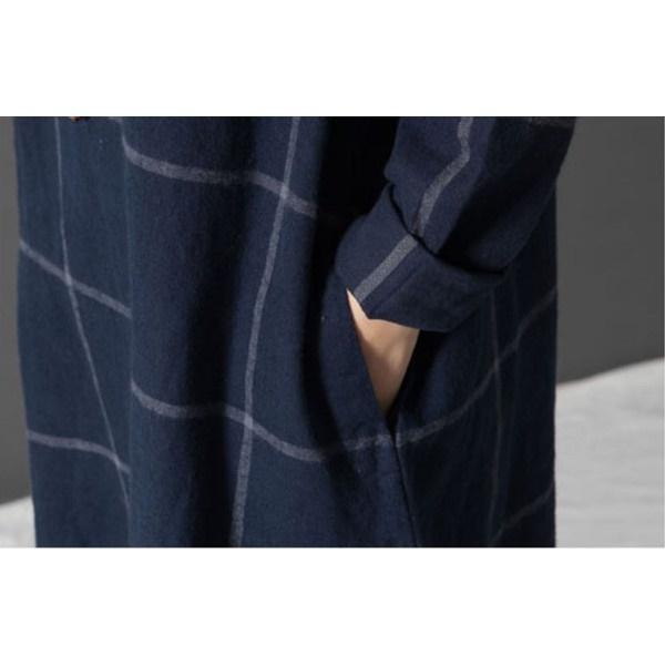 ワンピース チュニックワンピ 格子柄 ウインドペーン 綿麻 ミディアム丈 膝丈 マタニティ 長袖 大きいサイズ ゆったり 体型カバー
