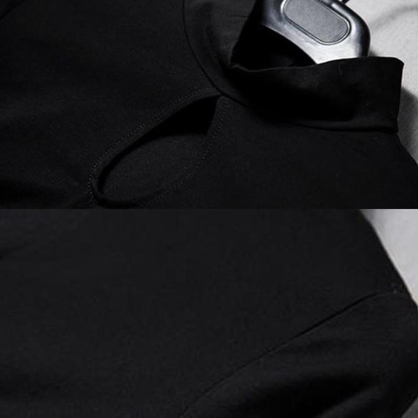 ワンピース ミニ丈 長袖 穴あき デザイン ボトルネック マーメイド タイト フィット 無地 クルーネック セクシー 肌みせ 可愛い 大人女子 2017