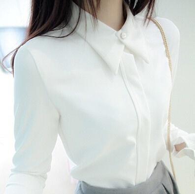 長袖の白いシャツシフォンブラッサス女性の女性のブラウスエレガントな女性の服
