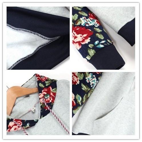 2016年婦人カジュアル厚手暖かい花のプリント長袖パーカー