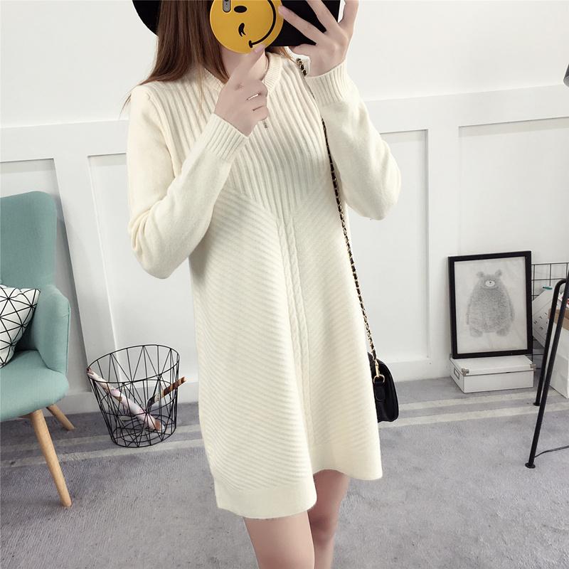 レディース服 女性 ニットウェア ワンピース セーター お洒落 ミドル ポケット 丸首 韓国風 ファッション