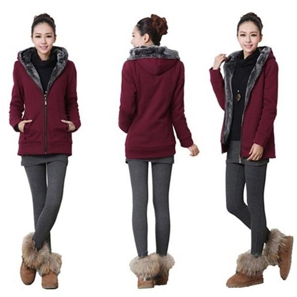 女性の冬の暖かいコットンロングスリーブジッパーフード付きジャケットコート