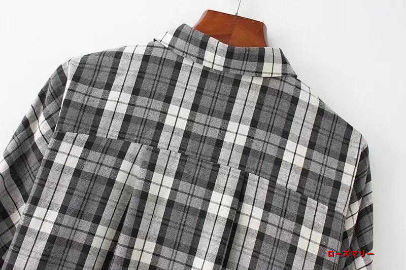 【ローズマリー】欧米の2017の秋の新型開襟はレースの長袖ワイシャツのワイシャツ式のワンピース ヴィンテージ調 チェック柄  ベーシック 大人気 -QQ4320