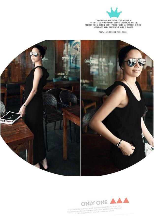 キャミワンピース♥绵100%  無地 ラウンドネック タイトスカート セクシー フーディー 着痩せ スリム すんなりロングスカート ♥韓国ファッション