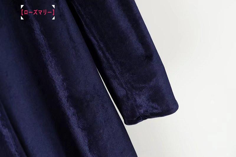 【ローズマリー】2018春コーデにビロードワンピースのストラップで腰着やせ無地正面にマキシ·ベンツ ロングワンピース ヴィンテージ調 -QQ4626