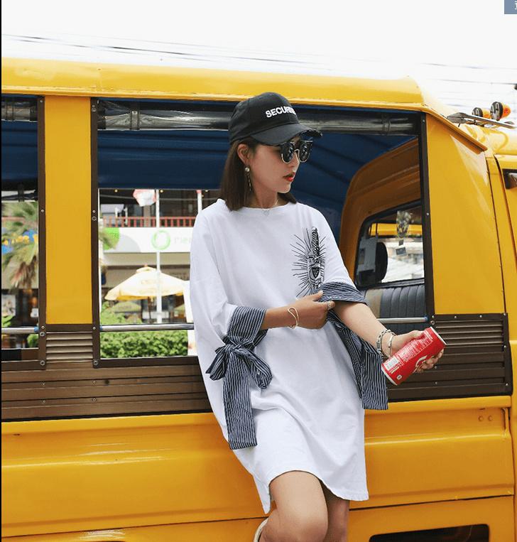 2017新品  韓国ファッション  ワンピース   レディース 人気   プリント 七分袖    ワンピース ゆったり感  個性  Tシャツワンピ 上質  流行 /2COLOR   D7060671