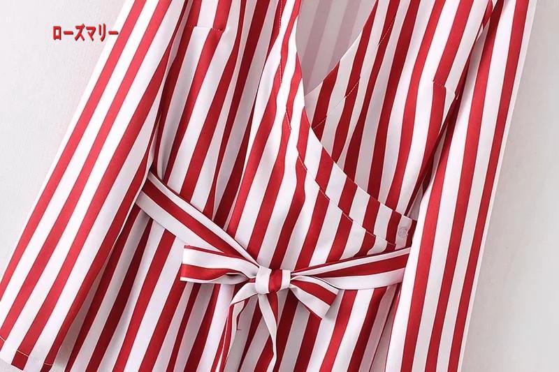 【ローズマリー】欧米2018春季新型修身着やせ深Vネック紅ストライプ着物ベルト腰ワンピーススカート 長袖ワンピース  ベーシック-R1637