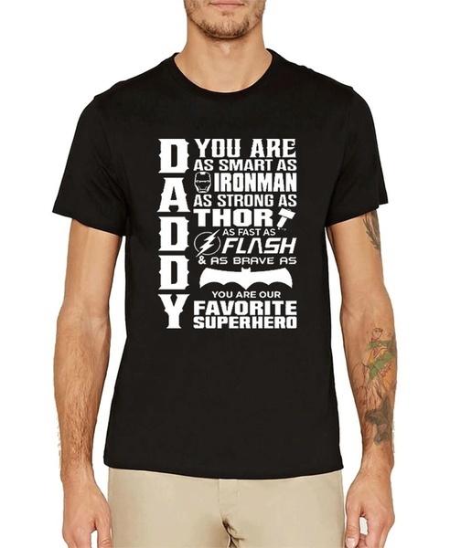 ダディスーパーヒーローTシャツ父の日誕生日プレゼントスーパーマンバットマンアイアンマントーアDCコミックカミセータH