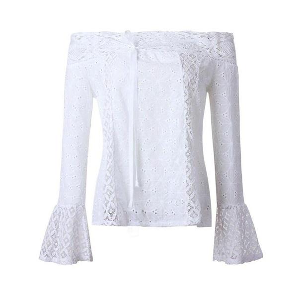 魅力的な女性オフショルダーロングスリーブレースルーズブラウストップTシャツ