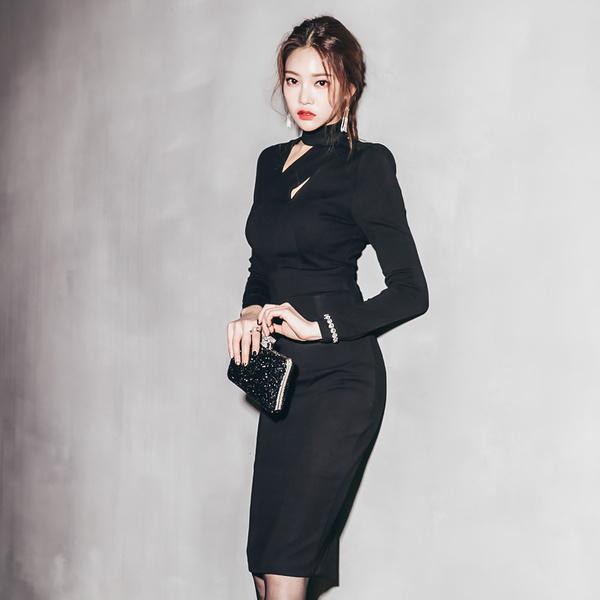 2016年冬オシャレな長袖ミドルロングタイトスカート着やせタイプレディースワンピース大きいサイズ小さいサイズ