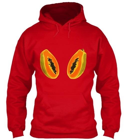 パパイヤフルーツカットハーフデジタルレディースT Gildanパーカースウェットシャツ