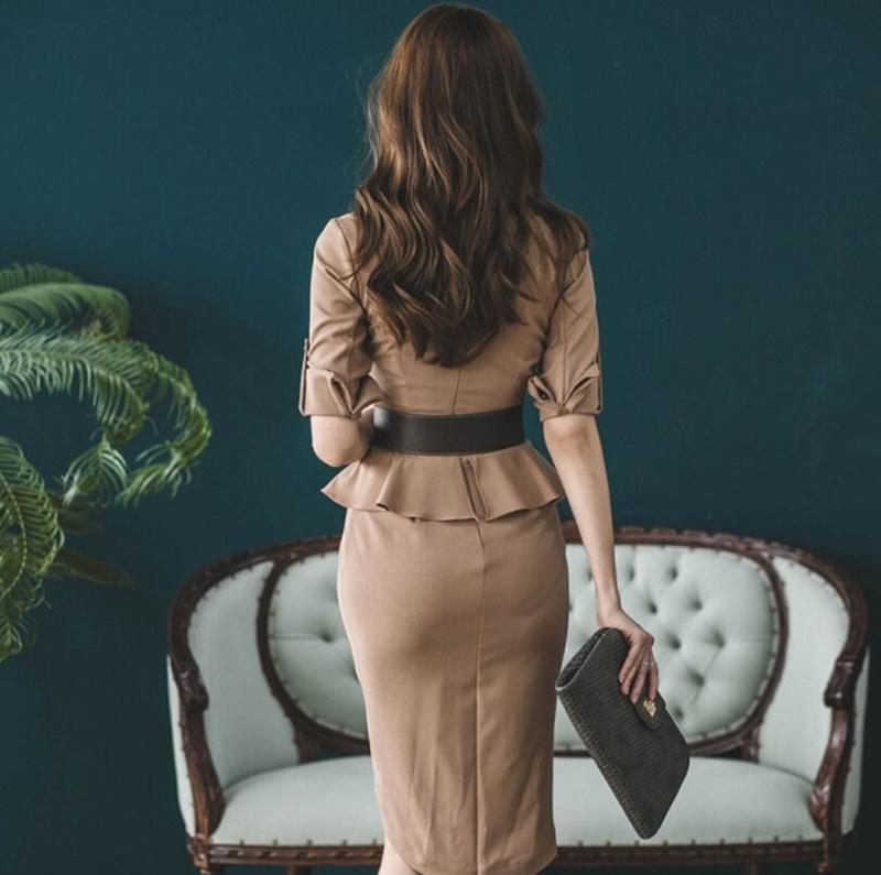 レディース 新作 人気 OL ワンピース Vネック 通勤  セクシー ドレス