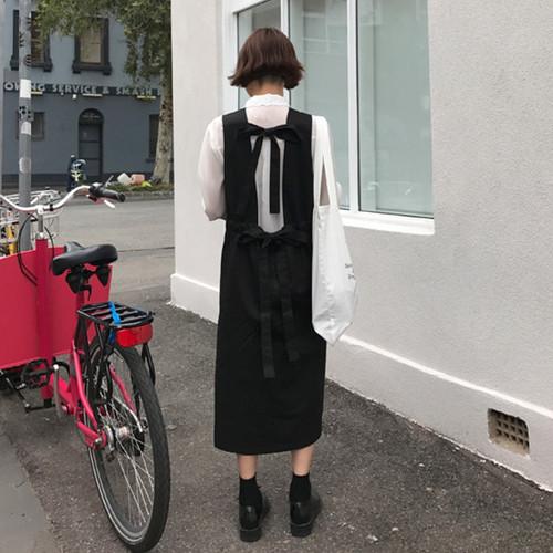 [YM-studio] 韓国chic ~サスペンダーワンピース  リボンの背後にゆったりワンピース/韓国ファッション/バッグ/ワンピース/スカート/Tシャツ/水着/naning9/stylenanda