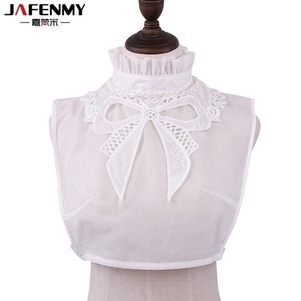 新しい取り外し可能な襟Falseの襟の女性セーターの偽のCollarsヴィンテージBig BowknotネックスタンドホワイトB