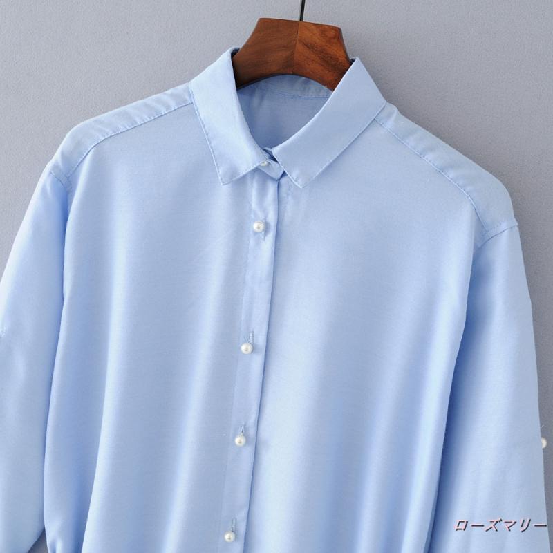 【ローズマリー】女装迷笛長袖ワイシャツの襟飾真珠のボタンが絆を飾りAラインスカートベルト腰にスカート シャツワンピース フィットスタイル ロングワンピース  ベーシック 大人気-QQ2027