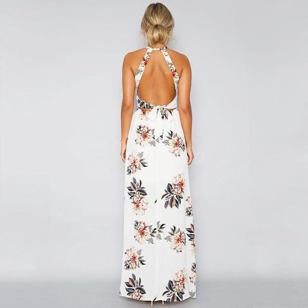 夏の女性のシフォンドレス花のプリントホルターノースリーブスプリットバックレスホロウアウトビーチマキシガウン