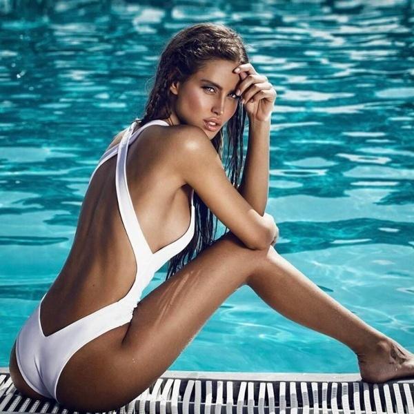 ファッションポイントの女性パッド入りプッシュアップビキニワンピース水着バックレス水着Jumpsuit