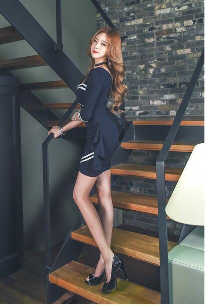 韓国ファッション 高品質 パーティードレス ボディコン 体型カバーになる ミニドレスセクシー 高級でセクシーなワンピース