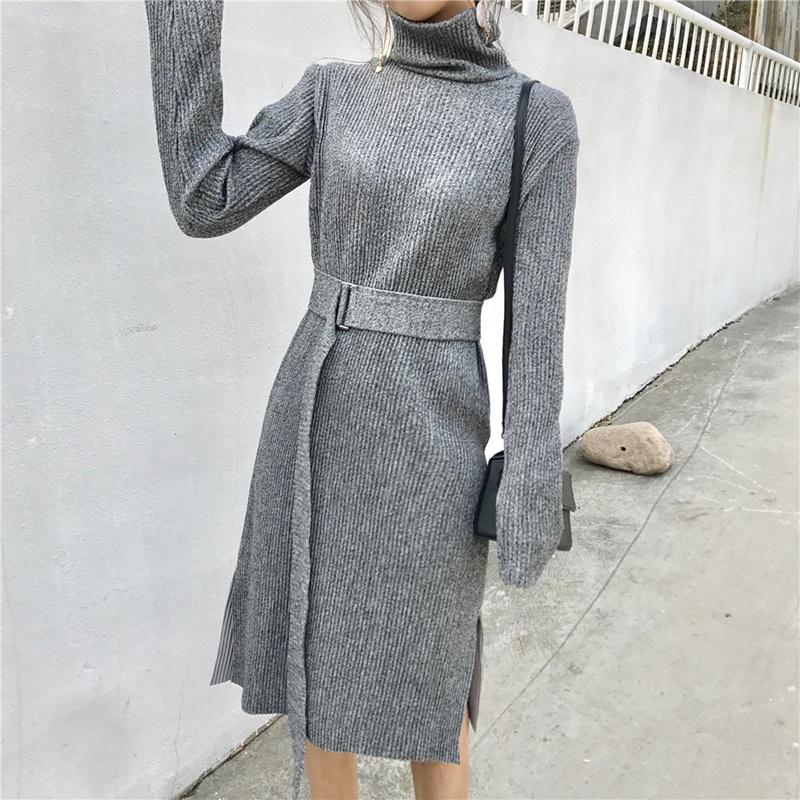 [55555SHOP]冬のファッション★韓国ファッション★女性ファッション★ロンハン長さ感に落ち着いたシルエットが女性らしいワンピース★・ニット★・パーカ★ワンピース★デートファッション★