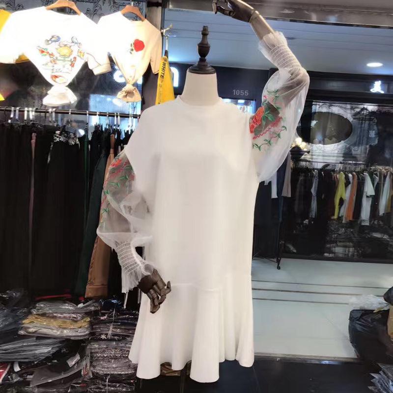 【RE】韩国东大門重工刺繍パフスリーブのフリルワンピース女スウェットワンピース スイート 花柄 刺繍レース かわいい 韓国ファッション 高品質-SS567