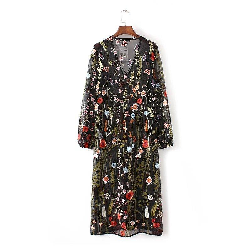 刺繍ワンピース  花柄  セクシー  着痩せの効果出る  大人気  女性らしさUP  高品質 -QQ085