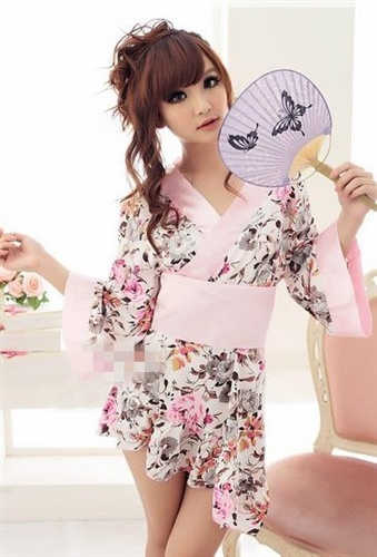 スウィートスタイル花柄プリントセクシー着物セット
