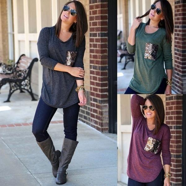 快適なカジュアルな女性の秋ロングスリーブラウンドネックポケットスパンコールレジャーTシャツ