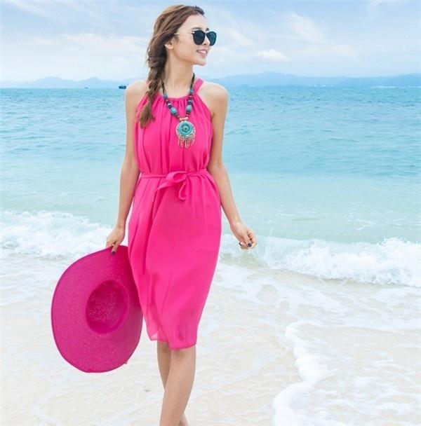 レディースワンピース ビーチワンピース 砂浜 シフォン 無地 ファッション ハイセンス 着心地いい おしゃれ 夏 レディースワンピース