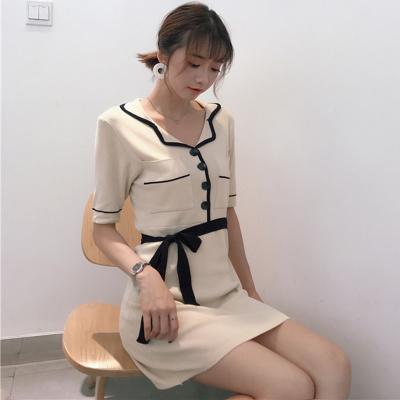 夏 新しいデザイン 女性服 ラペル ポケット ヒットカラー Vネック ひもあり リボン
