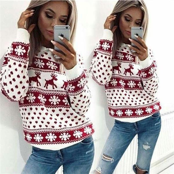 2017新しいシックなクリスマススノーフレークトナカイジャンパーオーバーサイズのニットセータートップ女性用