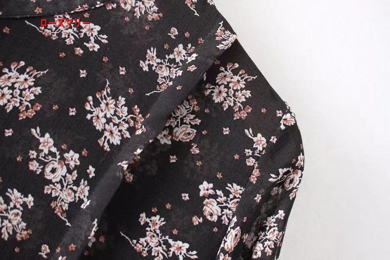 【ローズマリー】欧米2018春季新型ゆったり着やせ長袖スタンド式裾花柄のシャツワンピーススカート スイート 花柄 長袖ワンピース  ベーシック-R1598