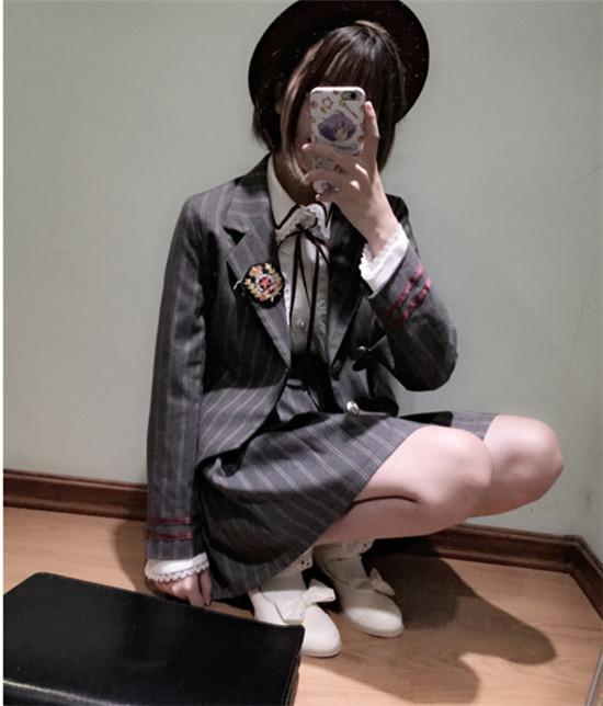 高校生 制服 上下セット スーツコート ジャケット スーツ 吊りスカート 2点 上下2点 可愛い ショートスカート 制服 学園 学院風