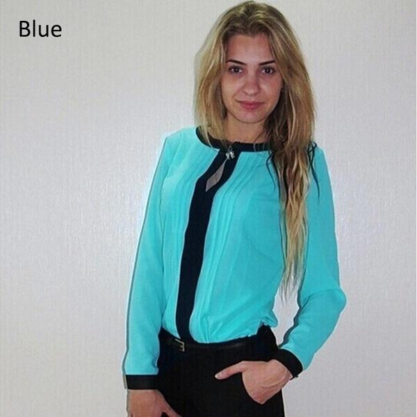 夏の女性のファッション魅力ブラウスO  - ネックロングスリーブスリムレディースシャツ