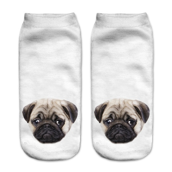 3D Pug犬プリント靴下カジュアル原宿アートソックスローカットアニマルソックスアンクルレディース靴下ショートメアーズ