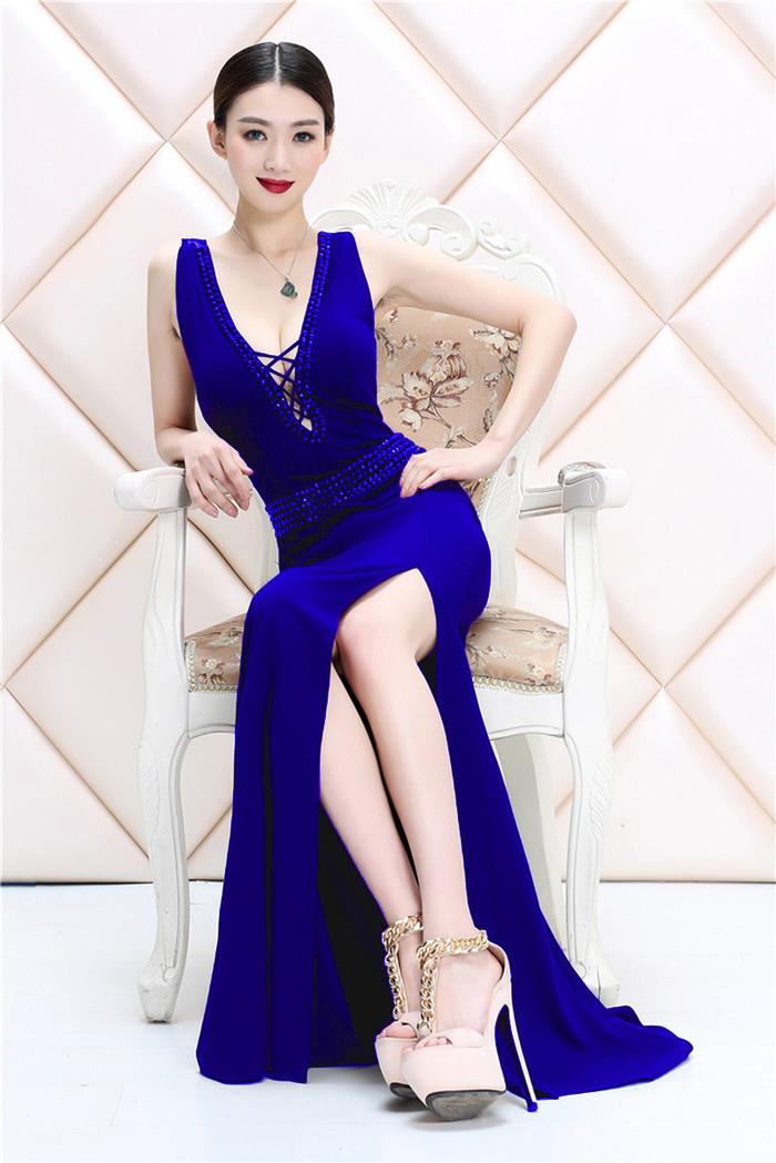 送料無料❤欧米高級❤高品質一字襟ハイウエスト釘珠镶钻透視長款ドレス結婚式の服を花嫁さんスカートマチャプチャレドレスイブニング・ドレス