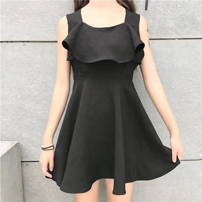 ファッション/夏/新しいデザイン/ナイトクラブ/セクシー/背中開き/ハイウエスト/クロス/黒スカート/何でも似合う/ベスト/ワンピース 小さい