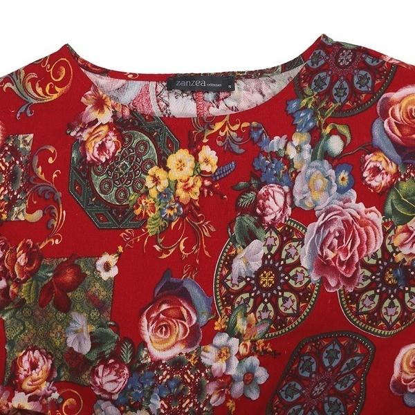 Vintage Femmes花柄長袖ブラウスカジュアル長袖ローブカフタン