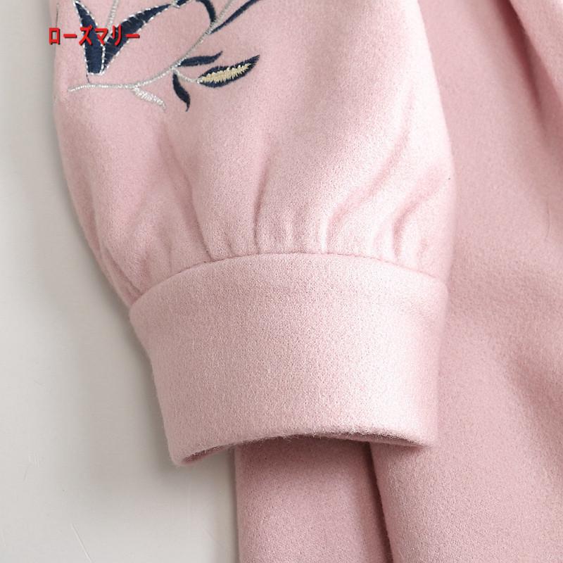 【ローズマリー】秋冬モデル2017新品女装甘い淑女袖刺繍修身着やせラシャワンピース スイート 花柄 刺繍レース 長袖ワンピース 可愛い レディース 高品質-R151