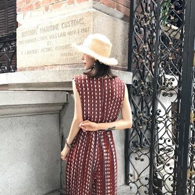 ファッション/韓国風/夏/女性服/新しいデザイン/アンティーク調/T-ストラップ/ウエスト/シフォン/ノースリーブ/九分/シャムズボン