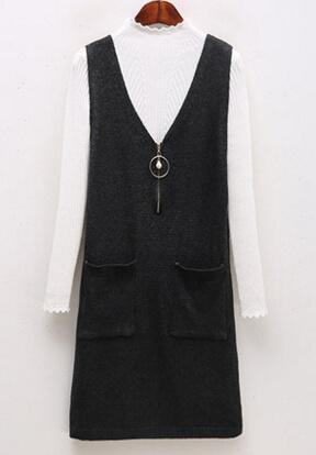 韓国春秋ファッション2点セット ワンピース ニットワンピース  ゆったり きれいめ無地 長袖 レディース