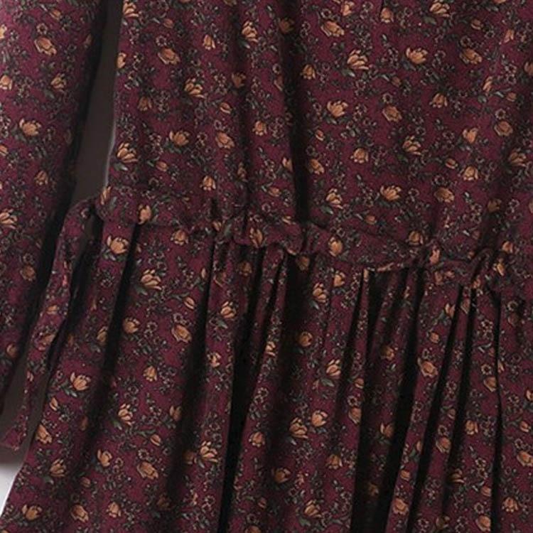 ナチュラル Aライン 長袖 花柄 マキシワンピース レトロワンピース レディース 花柄ワンピース ロング 森ガール フレア ワンピース ワンピ