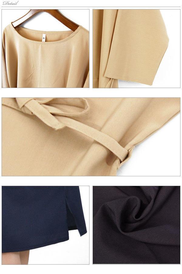 ワンピース ウエスト紐付きワンピース ラウンドネック レディース 長袖 薄手 軽い プルオーバー ゆったりサイズ【el0706】