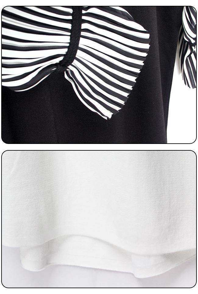 ★送料無料★ストライプ プリーツスリーブ ワンピース[レディース] 韓国ファッション ワンピース バッグ リュック パーカー コート アウター カーディガン ハロウィン セットアップ トレーナー