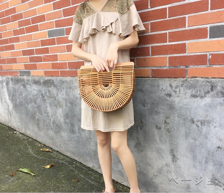 ワンピース レース 切替 スカラップ ブラウン/ベージュ