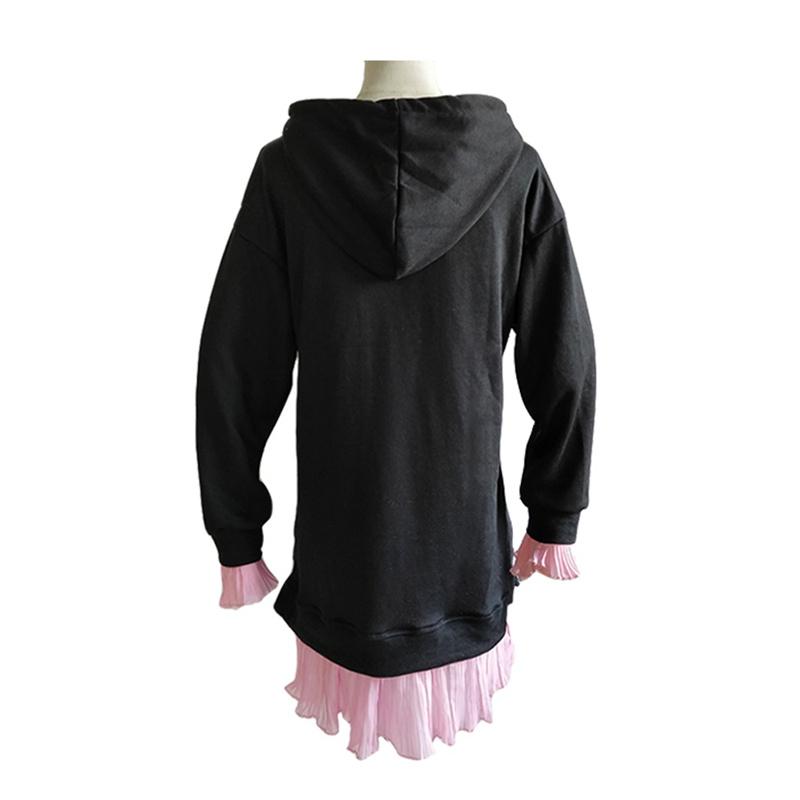 レディースワンピース レイヤード 体型カバー コットン 帽子付き ポケット付き 長袖 スウェット おしゃれ 無地 新品 着回し抜群 ブラック グレー 秋物 冬物 大きいサイズ L-2XL