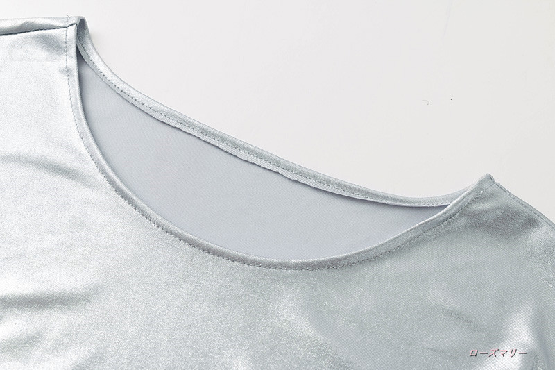 【ローズマリー】秋の欧米女装丸首長袖ミニのワンピースウエスト切替裁断正面しわ銀色短いスカート 着痩せの効果出る フィットスタイル ヴィンテージ調 -QQ3211