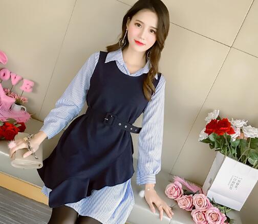 レトロモードチェックワンピース チェック柄ワンピース 春秋ワンピース 大人 可愛い 長袖 美しいシルエット 韓国ファッション