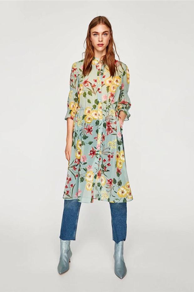 夏の新型ヨーロッパ駅女装詰め襟花プリント中に袖長シャツ