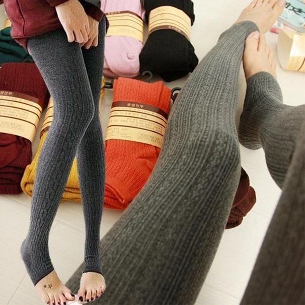 ファッションレディースレギンス冬の暖かいストライプニット厚い秋のレギンスロングソックススリムレギンス